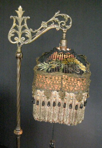 Antique Victorian Bridge Lamp And Shade