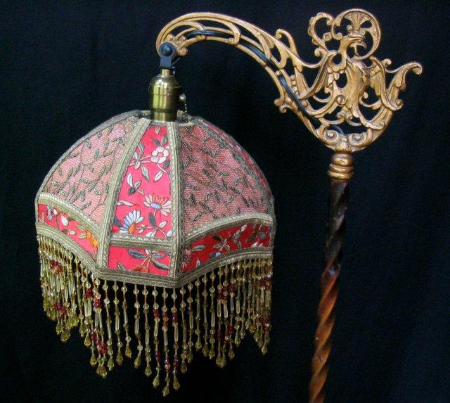 Antique Floor Lamp With Bridge Lampshade