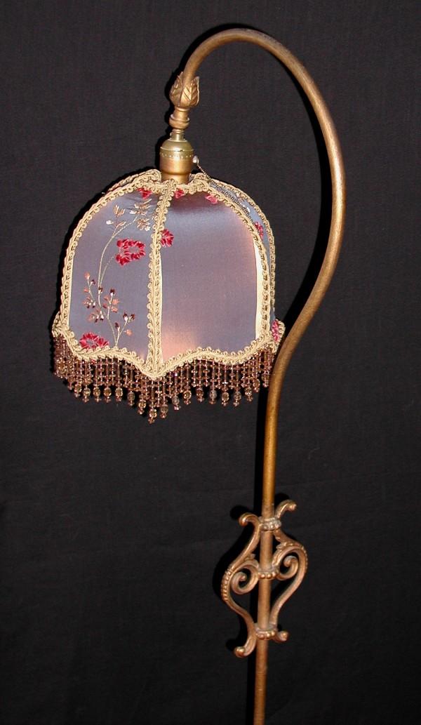 Antique Bridge Floor Lamp With Shade