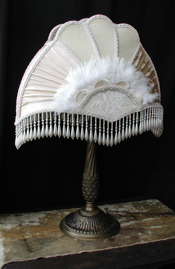 Victorian Lamp Shade With Feathers